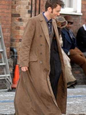 David Tennant Wool Trench Brown Coat