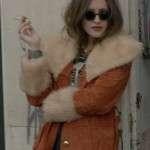 Actress Carly Chaikin Fur Shearling Brown Coat