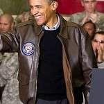 Barack Obama Bomber Leatehr Jacket