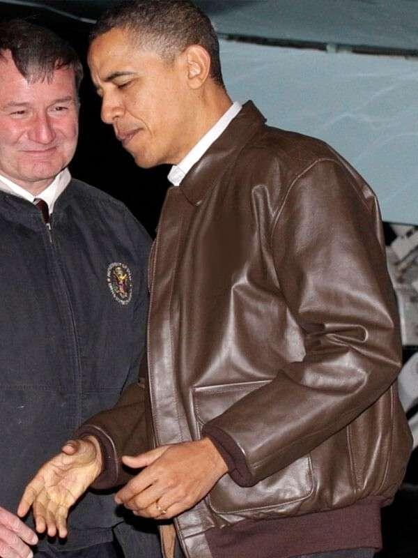 Barack Obama Brown Leather Jacket
