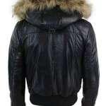Black Hood Bomber Shearling Jacket For Mens