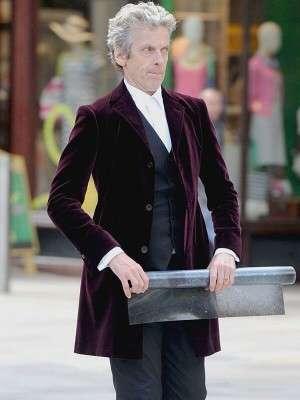 12th Doctor Who Peter Capaldi Maroon Velvet Coat