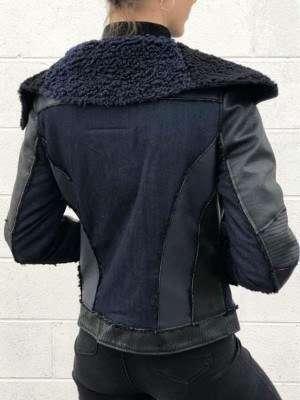 Board Collar Shearling Leather Jacket