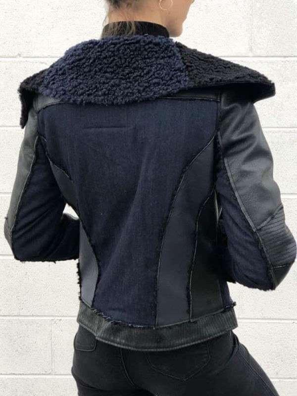 Elegant Board Collar Leather Jacket