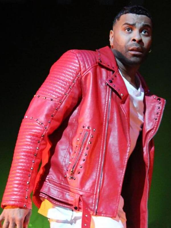 Ginuwine Studded Red Leather Jacket