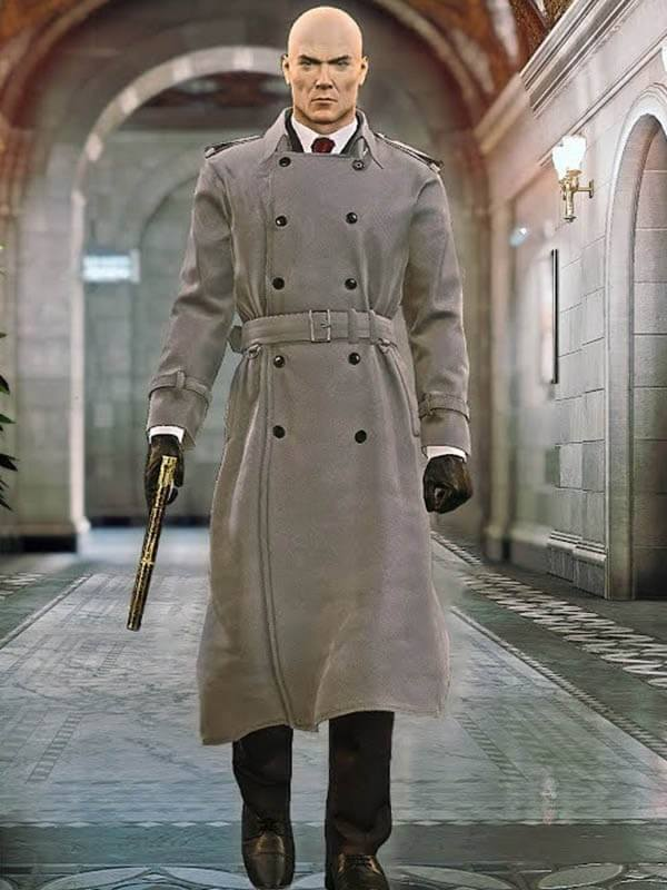 Hitman 2 Silent Assassin Agent 47 Double Breasted Trench Coat