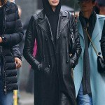 Kaia Gerber Channels the Matrix Leather Trench Coat