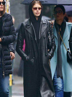 The Matrix Kaia Gerber Trench Leather Coat