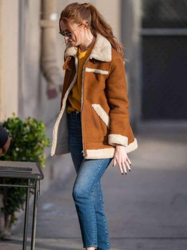 Karen Gillan Shearling Leather Jacket