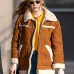 Karen Gillan Shearling Suede Leather Jacket