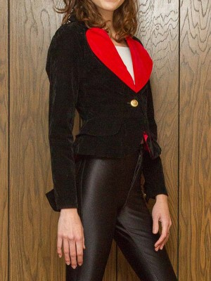 Valentine Red Heart Shape Black Blazer