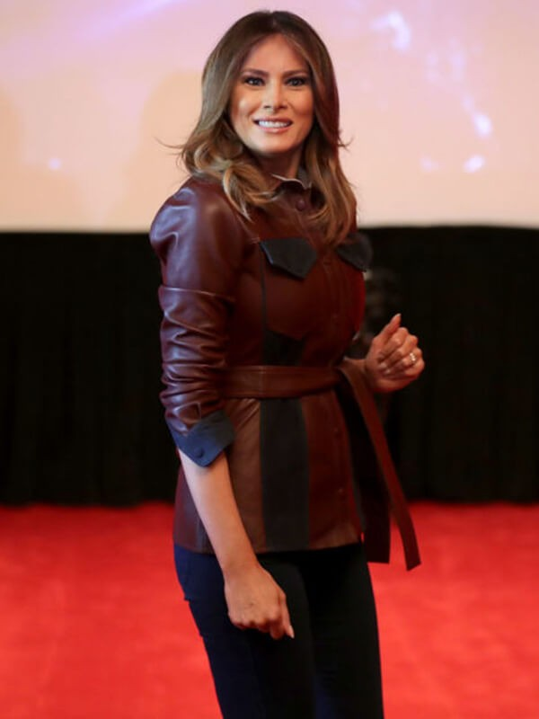 Melania Trump Brown Leather Jacket