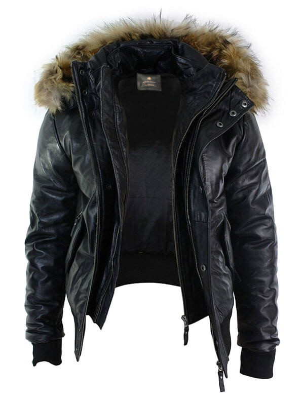 Mens Black Hooded Bomber Shearling Leather Jacket