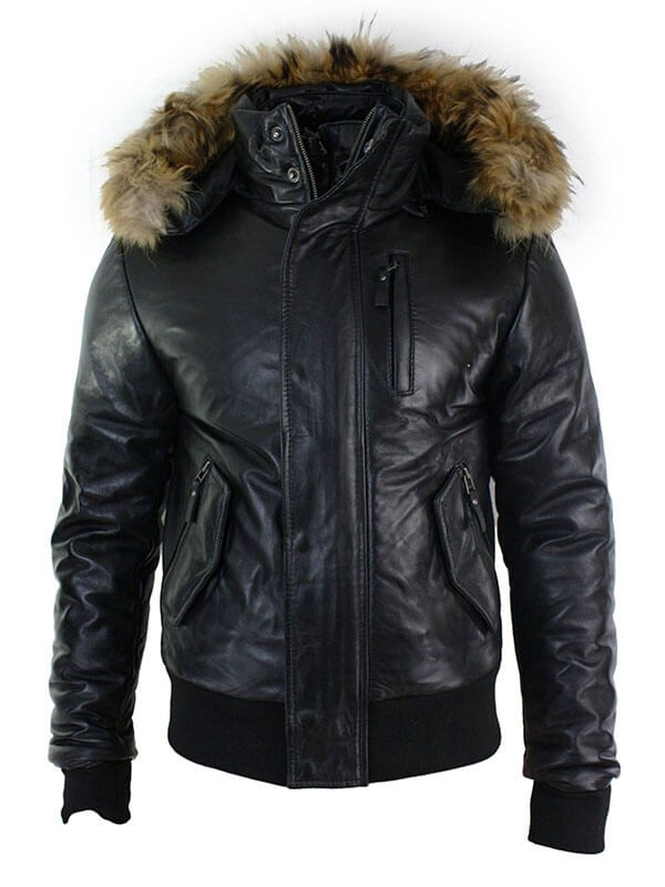 Mens Fur Hooded Faux Shearling Leather Jacket