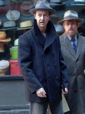 Motherless Brooklyn Edward Norton Wool Pea Coat