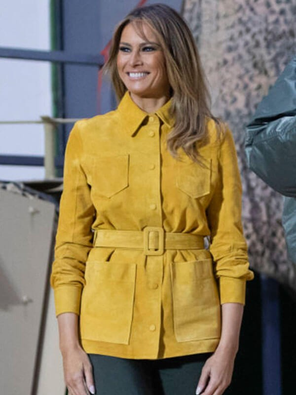 Ms Trump Melania Yellow Leather Jacket