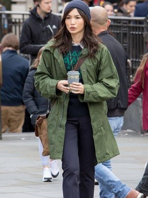 Gemma Chan The Eternals Sersi Green Coat