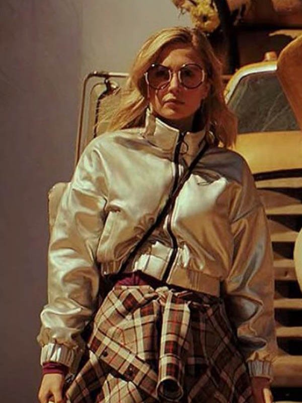 Sophie Simnett Daybreak Shiny Bomber Jacket