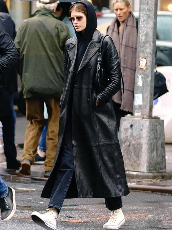 The Matrix Kaia Gerber Black Leather Trench Coat