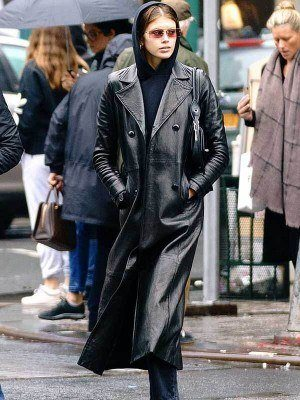 Kaia Gerber The Matrix Leather Coat