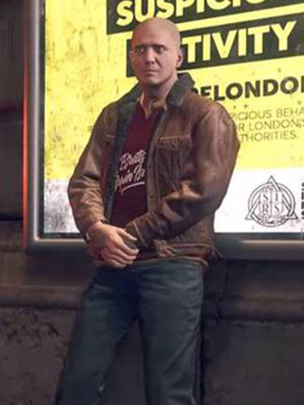 Watch Dogs Legion Brown Leather Jacket with Shearling Fur Collar