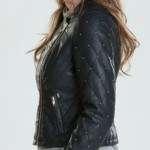 Women Neon Quilted Black Jacket