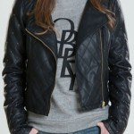 Women Neon Quilted Leather Jacket
