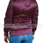Alba Style Maroon Bomber Women Jacket