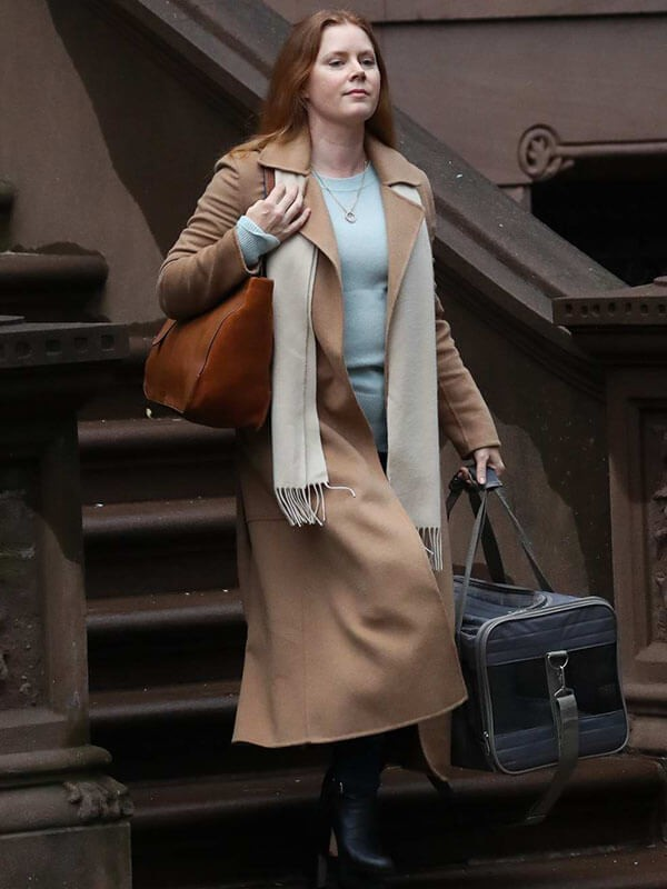 Amy Adams spotted on set of The Woman In The Window Coat