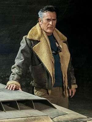 Ash vs Evil Dead Evil Ash Aviator Shearling Leather Jacket