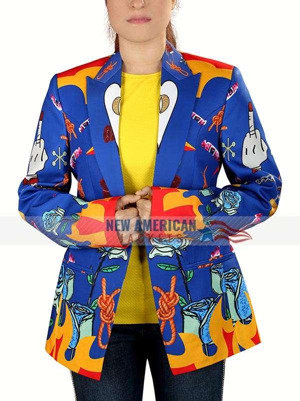 Birds Of Prey Harley Quinn Blue Blazer New American Jackets