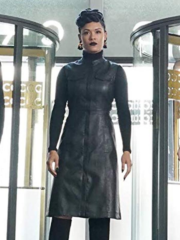 Black Sleevlesss Leather Coat Worn by Grace Byers in Tv Series The Gifted