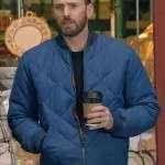 Chris Evans Blue Quilted Bomber Jacket