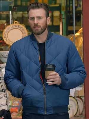 Super Bowl Halftime Show Chris Evans Quilted Bomber Jacket