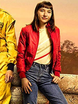 Red Bomber Jacket worn by Christie Hooper in Movie Go