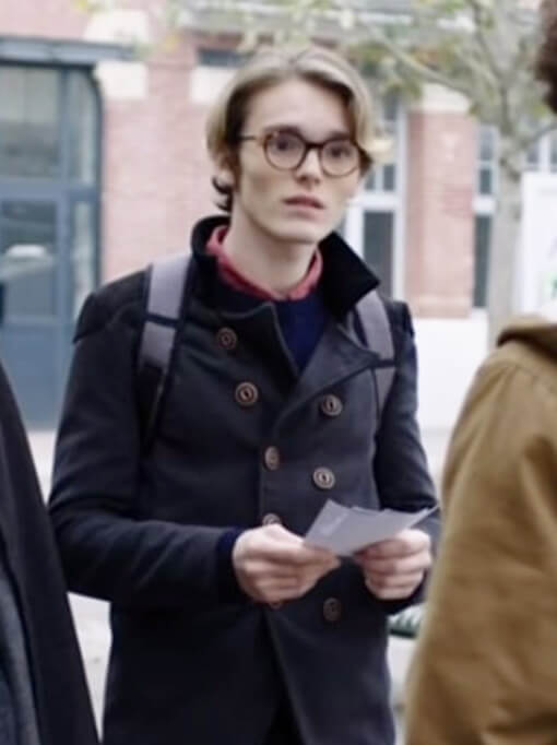 Double Breasted Leather Jacket worn by Arthur in Tv Series Skam France