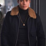 Dry Eye Worn Fur Shearling Collar Letaher Jacket in Movie The Gentleman