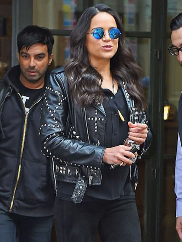 F9 Concert in New York Vin Michelle Rodriguez Studded Leather Jacket