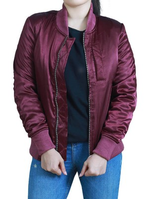 Jessica Ladies Maroon Bomber Jacket
