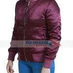 L.A Finest Jessica Alba Maroon Bomber Jacket