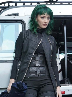 Polaris worn Black Sleeveless Leather Coat in Tv Series The Gifted