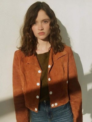Jack­et in Brown Suede Leather of Manon De­mis­sy in Skam France