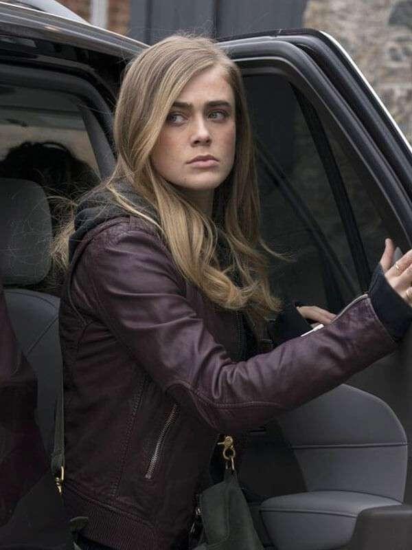 Maroon Leather Michaela Stone Tv Series Manifest Leather Jacket