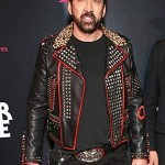 Nicolas Cage Color Out Of Space Blac and Red Leather Jacket
