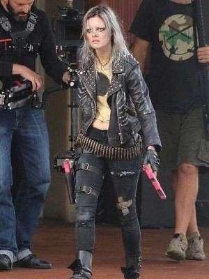 Samara Weaving Guns Akimbo Movie Studded Jacket