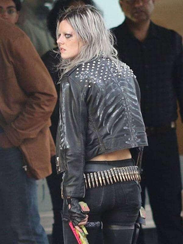 Nix Guns Akimbo Samara Weaving Leather Jacket