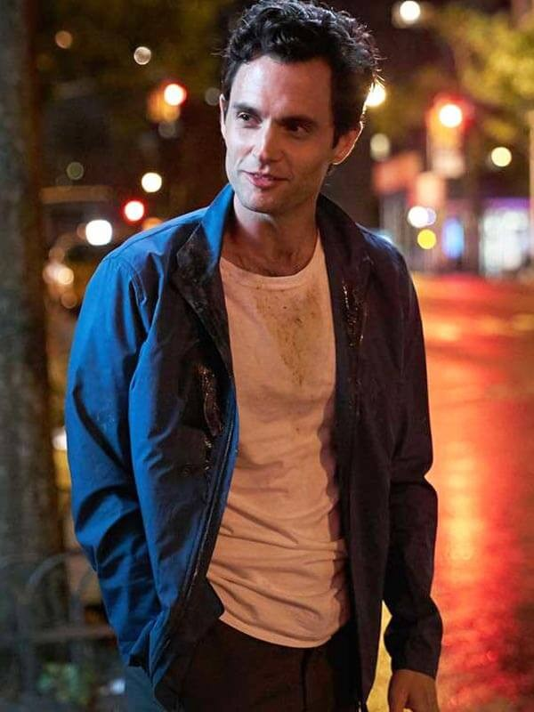 Penn Badgley You Blue Jacket