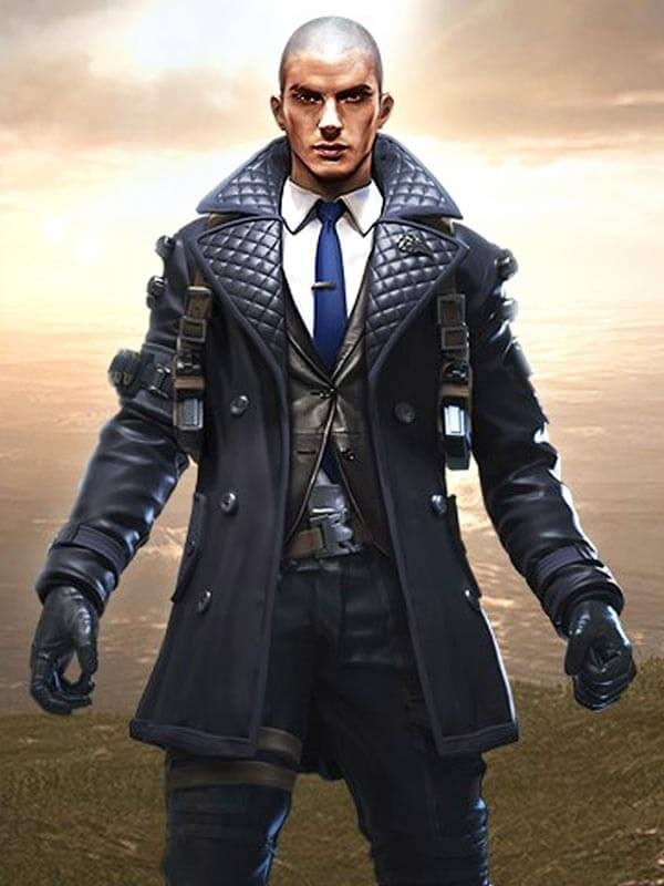 Rafael Black Quilted Leather Coat in Video Game Free Fire Battlegrounds