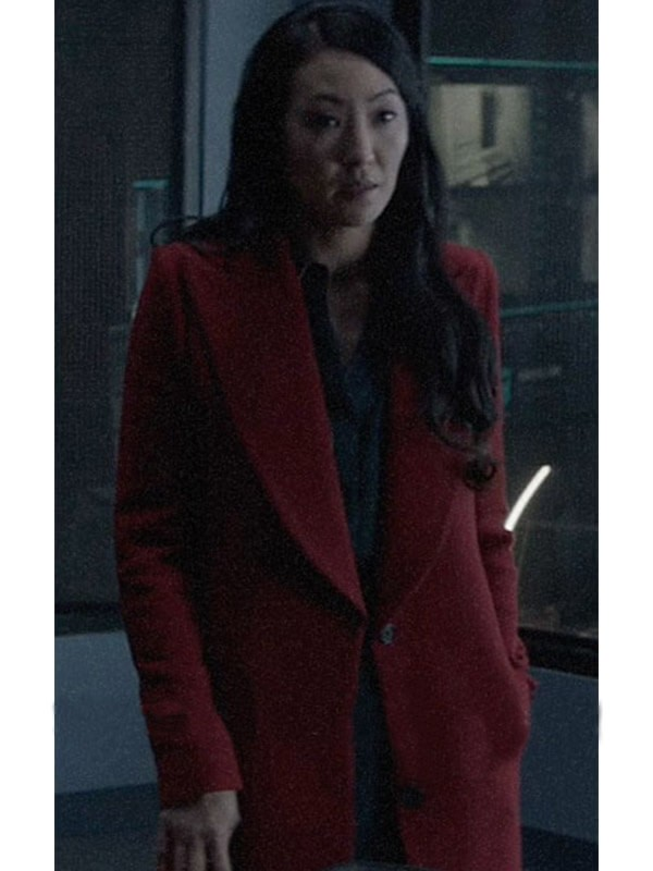 Red Long Wool Coat worn by Catherine Hamilton-Kane in Batwoman Movie