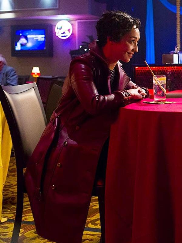 Ruth Negga Preacher Leather Coat